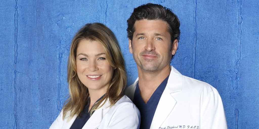 "GREY'S ANATOMY - ABC's ""Grey's Anatomy"" stars Ellen Pompeo as Dr. Meredith Grey and Patrick Dempsey as Dr. Derek Shepherd. (Bob D'Amico/ABC via Getty Images)"